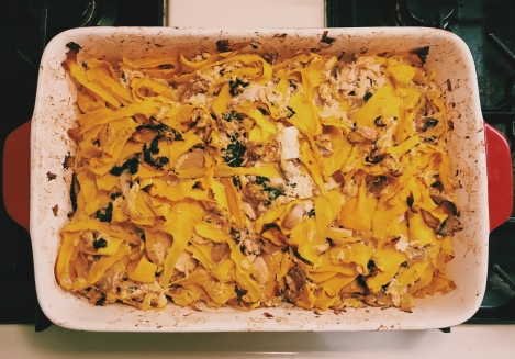 Tuna Casserole with Butternut Squash Pappardelle