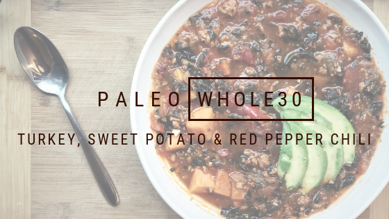 Paleo Whole30 Turkey, Sweet potato, and red pepper chili