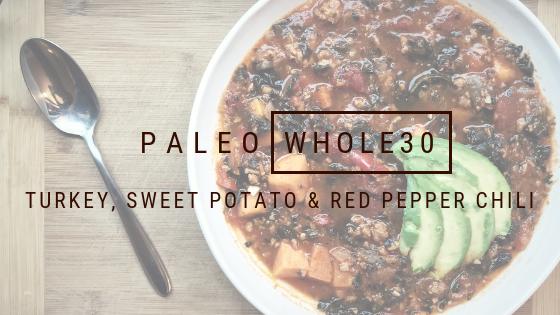 Paleo Whole30 Turkey, Sweet potato, and red pepper chili
